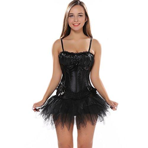 LFFW Tracolla Imbottita Tracolla Corsetto con Gonna Tutu Nuovo Swan Dress (EU(40-42) 2XL, Black)