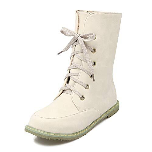 Minetom Mujer Otoño Invierno Cálido Peluche Forrada PU Cuero Botas de Moto Antideslizante Confort Punta Redonda Pisos Zapatos con Cordones Chelsea Boots Beige EU 42