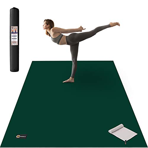 CAMBIVO Large Yoga Mat, Wide Exercise Mat 6'x 4' x 8 mm (72'x 48') Extra Thick Workout Mat for Pilates Stretching Home Workout Gym,Use without Shoes (Ink))