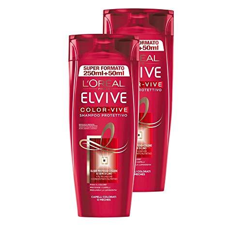 L'Oréal Paris Elvive Color-Vive Shampoo Protettivo per Capelli Colorati o Mèches, 2 x 300 ml