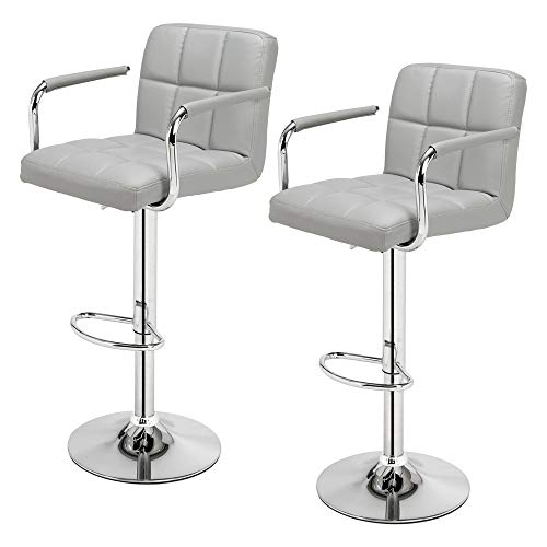 Leezo - Taburetes de bar para sillas de bar para desayuno, taburetes para cocina, isla, taburetes de bar, 2 piezas, silla de bar con reposabrazos y 6 compartimentos, color gris