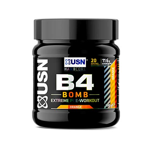USN B4 Bomb Fruit Orange 300 g: Pre workout Energy Drink with Creatine, Caffeine, Zynamite and L-Citrulline