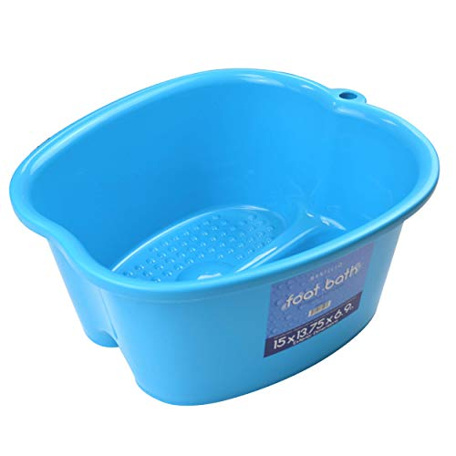 Mantello Foot Soaking Bath Basin - Large Size for Soaking Feet | Pedicure and Massager Tub for at Home Spa Treatment | Callus, Fungus, Dead Skin Remover, Blue
