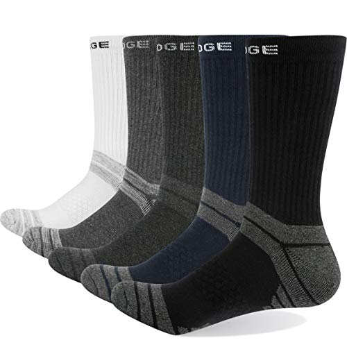 YUEDGE Men's 5 Pairs Breathable Cushion Casual Crew Socks Multi Performance Sports Athletic Workout training socks, Medium Grey/Light Grey/Dark Blue/Dark Grey/Black, L (Men Shoe 6-9 UK Size)