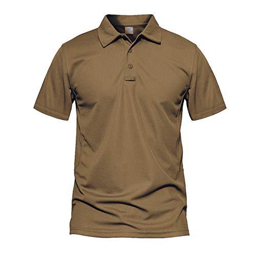 MAGCOMSEN Kurzarm Polo Shirt Herren Armee Polo Shirt Airsoft Paintball Oberteil Outdoor Militärkleidung Golf Polo-Shirt Jagdhemd Funktionsshirt mit Umlegekragen Braun 2XL