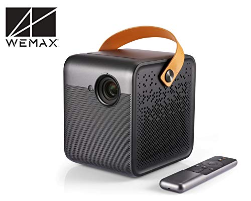 WeMax Dice, Smart Portable Projector 1080P, 700 ANSI Lumen, Laptop Projector with Keystone Correction, 3hr Battery Power Bank - Charges Phone, 5K Apps Built-in Projector