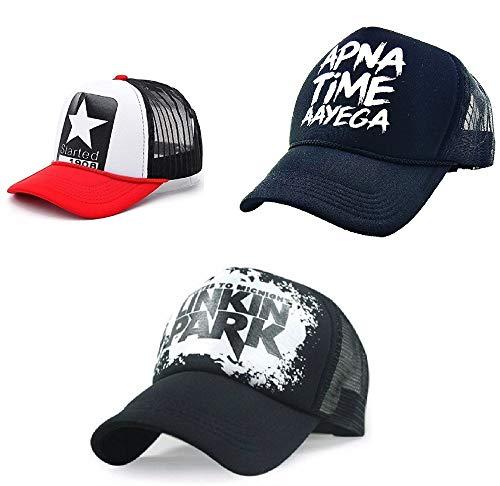 FashMade APNA TIME AAYEGA Printed Combo Pack of 3 Caps for Men/Boys & Women/Girls