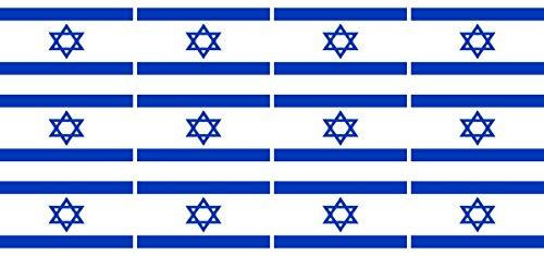 Mini Aufkleber Set - Pack glatt - 50x31mm - Sticker - Fahne - Israel - Flagge - Banner - Standarte fürs Auto, Büro, zu Hause und die Schule - 12 Stück
