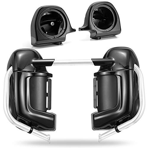 US Stock Moto Onfire Lower Vented Fairings, Vivid/Glossy Black, 6.5 inch Speaker Pods Fit for Harley Touring Road King, Street Glide, Electra Glide, 1983-2013
