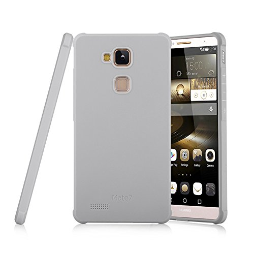 Schutzhülle Huawei Ascend Mate 7 Hülle, Business Serie Stoßfest Ultra Dünn Weich Silikon Rückseite Fall für Huawei Ascend Mate 7 (Hellgrau)