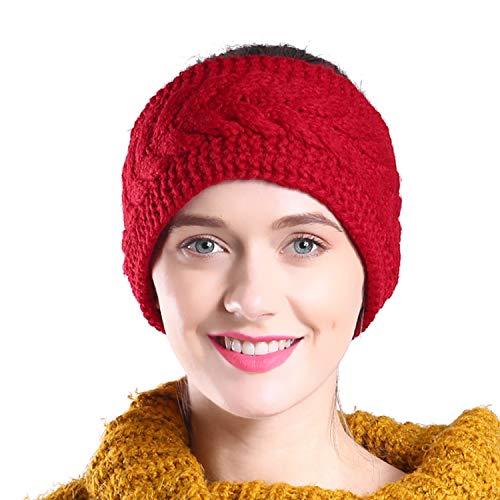 Hikon Fleece Lined Warm Cable Knit Winter Headband for Women Head wrap Ear Warmer Wine Red