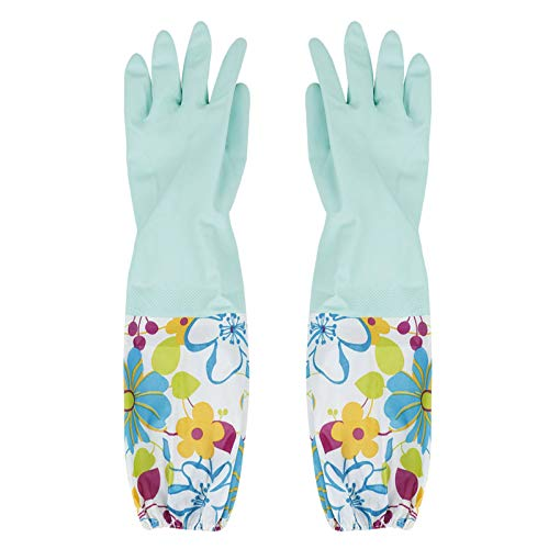DERCLIVE Guantes de terciopelo para lavar platos, diseño floral, color verde