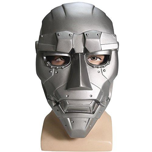 Fantatic Dr. Doom Masque Cosplay Halloween Adulte Gris Masques Costume Film PVC Prop