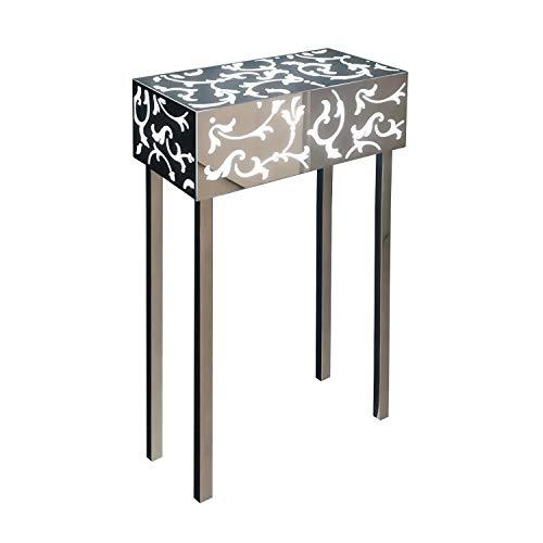 INSEGNESHOP Consolle tavolino Comodino cubo plexiglass, Lampada in Acciaio Luminoso a Specchio e plex Bianco/Esterno Giardino Soggiorno Camera