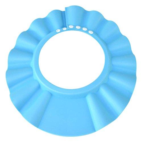 HOOYEE Safe Shampoo Shower Bathing Protection Bath Cap Soft Adjustable Visor Hat for Toddler, Baby, Kids, Children (Blue)