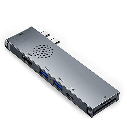 Concentrador USB C para MacBook Pro 2020, 7 en 2 MacBook Pro Adaptador USB C con HDMI Dual 4K@30Hz, Suministro de energía de 60W, 2 Puertos USB 3.1 y Lector de Tarjetas SD/TF