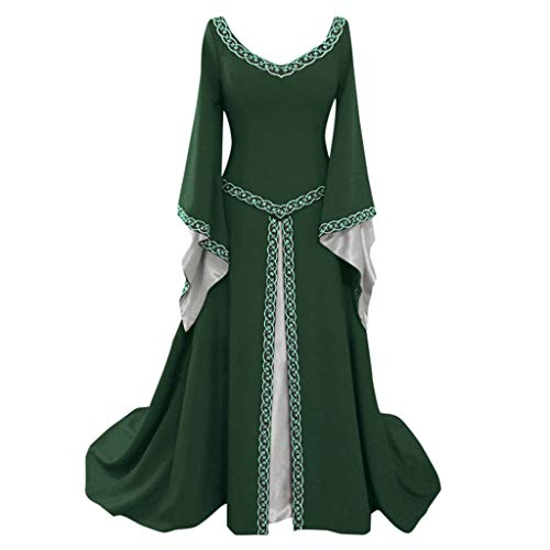 Medieval Dress,Forthery Renaissance Irish Dress for Women Plus Size Long Dresses Lace up Costumes Retro Gown(Green,XXL)