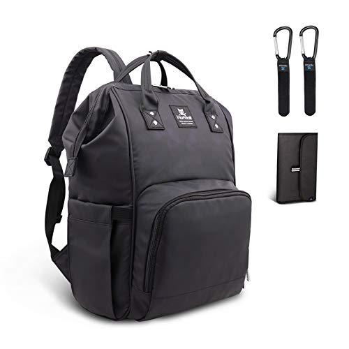 Hafmall Wickeltasche Rucksack mit Wickelunterlage und Kinderwagen Haken, Wasserdichte Baby Wickelrucksack, Stilvolle Große Kapazität Reise Babytasche