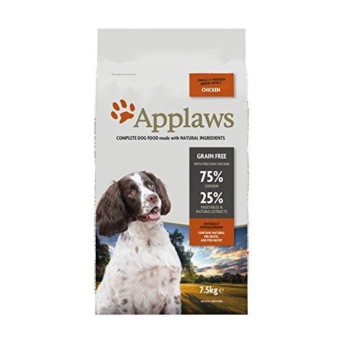 Applaws natürliche komplette trockene Hundefutter für Erwachsene kleine/mittlere Rasse Hunde, Huhn, 7,5 kg (Packung mit 1)