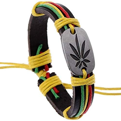 WDXHJY Pulsera De Hombre,Handmade Rasta Jamaica Reggae Brazaletes Pulseras De Piel para Hombre Mujer Unisex