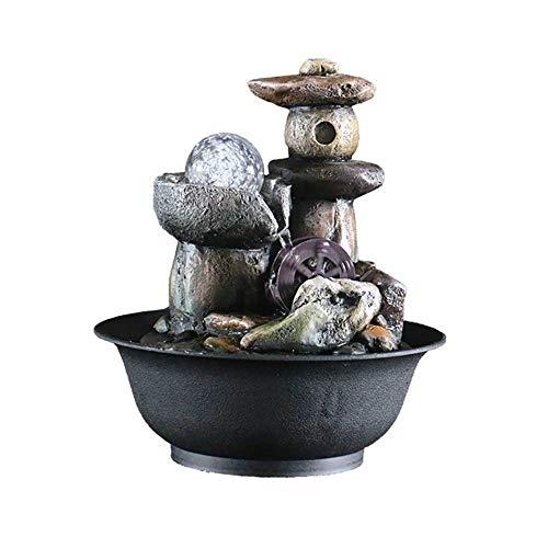 HQZ Kleiner Zimmerbrunnen, für Büro, Raumdekoration, tragbare dekorative Brunnen innen und außen-Harz-I: 21,5 * 21,5 * 25CM