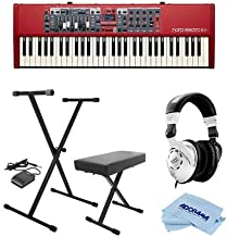 NORD Electro 6D 61-Note Semi-Weighted Waterfall Keybed - Bundle with On-Stage KPK6520 Keyboard Stand/Bench Pack with Sustain Pedal, Behringer HPS3000 High-Performance Studio Headphones, Cloth