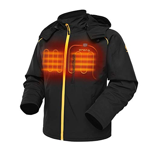 ORORO Men s Heated Jacket with Detachable Hood and Battery Pack (Black Gold, L)