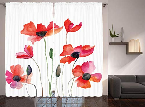 Ambesonne Watercolor Flower Decor Collection, Poppies Wildflowers Nature Painting Watercolor Effect, Window Treatments, Living Room Bedroom Curtain 2 Panels Set, 108 X 84 Inches, Fuchsia Orange Olive