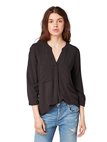 TOM TAILOR DENIM Blusen, Shirts & Hemden Tunika Bluse mit Henley-Ausschnitt Deep Black, M