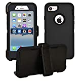 iPhone 7 / iPhone 8 Cover | 2-in-1 Screen Protector & Holster Case | Full Body Military Grade Edge-to-Edge Protection with carrying belt clip | Drop Proof Shockproof Dustproof | Black / Black