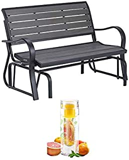 Lifetime Outdoor Glider Bench with Bottle (Gray)
