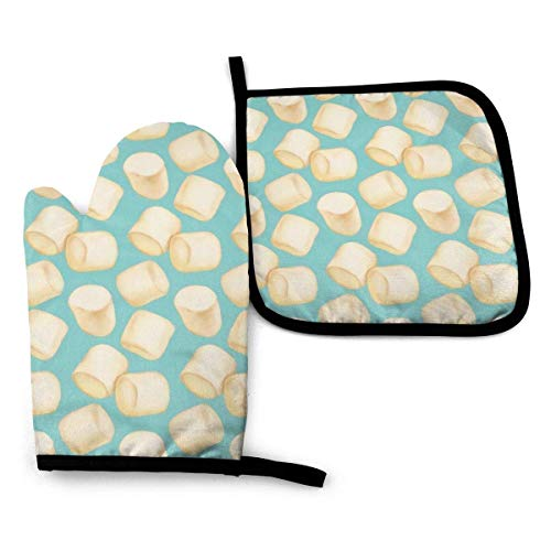 U Shape 2 Pieces Oven Gloves and Pot Holder Marshmallows Blue Waterproof Kitchen Oven Mitts Heat Resistant Pot Pad for BBQ Baking