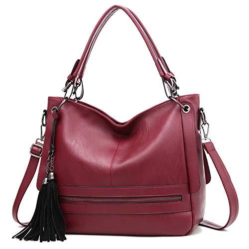 Bolso de mano para mujer grande con borla de piel sintética suave, Rojo (Rojo), Medium
