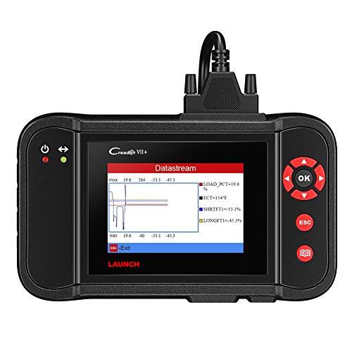 LAUNCH Creader CR VII+ X431 Herramienta de Diagnóstico OBD y Lectura Borrado de códigos de Error, Motor, Transmisión, ABS, Airbag (SRS) en Pantalla TFT 3,5 Pulgadas 320 x 480 Tarjeta de 1GB