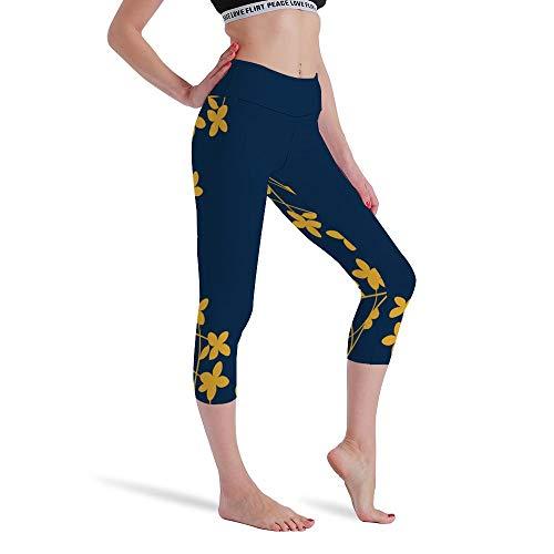 DKISEE Vrouwen Hoge Taille Zeven Punten Yoga Broek Schoonheid Bloemen Gedrukte Sportbroek Leggings Hardlopen Gym Sweatpants voor Vrouwen