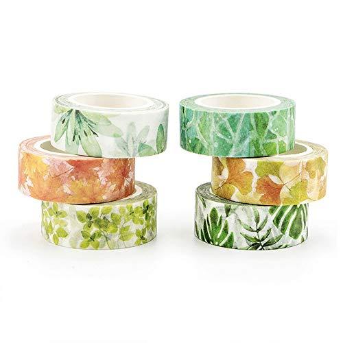NLR 花と植物 マスキング 和紙 テープ セット [植覚のえる] 6ロール | 幅15mm | スクラップブック、箇条書...