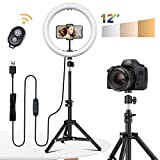 "12"" Selfie Ring Light with Tripod Stand - Dimmable Desktop Ringlight with DIY Ports, Circle Light LED Camera Lighting for Live Stream/Makeup/YouTube/TikTok, Compatible with iPhone Android"