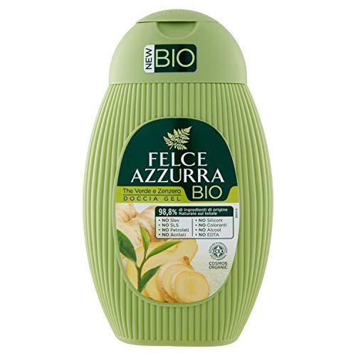 Felce Azzurra BIO Duschgel Grüner Tee & Ingwer - reichhaltige samtweiche Duschformel - 100% recyclebare Verpackung - 1er Pack (1x 250 ml)