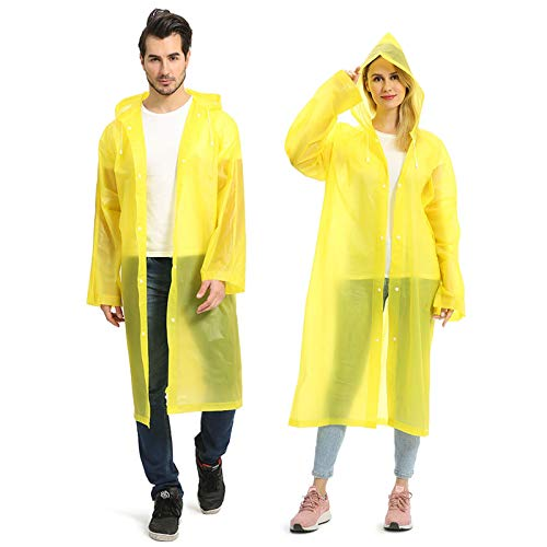 Opret 2 Pack Portable EVA Raincoats for Adults, Reusable Rain Ponchos with Hoods and Sleeves Lightweight Raincoats, Yellow