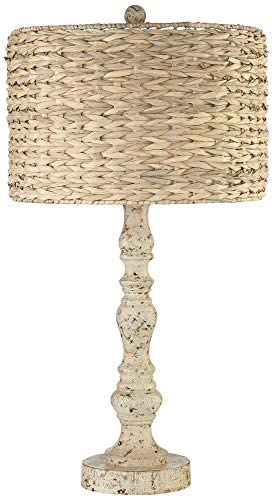 Jackson Country Cottage Coastal Table Lamp Rustic Distressed Antique White Candlestick Rattan product image