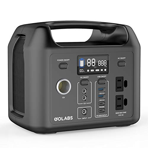GOLABS Portable Power Station, 299Wh LiFePO4 Battery Backup, PD 60W Type-C Quick Charge, 300W Pure Sine Wave AC Outlet Solar Generator Power Supply for Outdoor Camping Fishing Travel Emergency CPAP (Black)