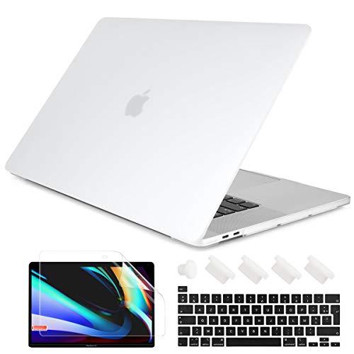 Batianda - Carcasa para MacBook Pro de 13 pulgadas A2338 M1 A2289 A2251, plástico mate esmerilado rígido con funda de teclado protector de pantalla para MacBook Pro 13 Touch Bar (transparente mate)