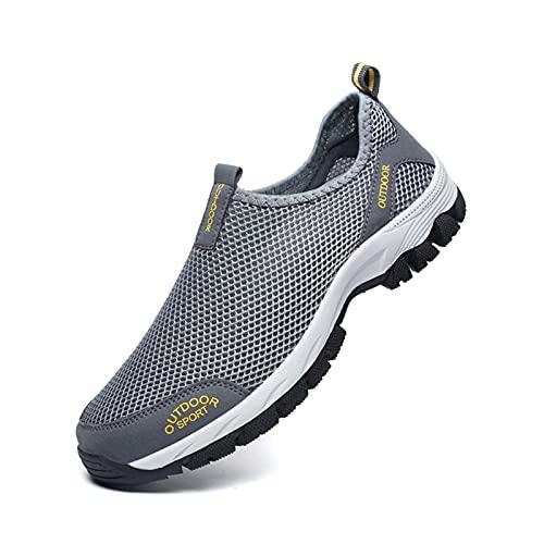 LIUYB Zapatos casuales cómodos de verano para hombre, sin cordones, transpirables, de malla de aire, zapatillas de deporte, mocasines de agua, talla 39-49 (color: gris, tamaño: 44)