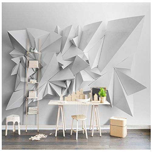Tamaño Papel de pared moderno Fondo Blanco Geométrico Arte de origami Recubrimiento de paredes Restaurante Decoración mural Papel tapiz mural, 350x245 cm