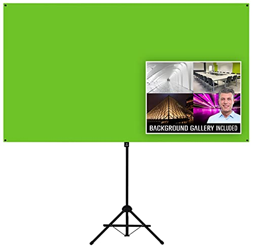 Valera Explorer Green Screen with Stand - Portable Chroma Key Panel, +1000 Free Backgrounds Included, Wrinkle Resistant Green Fabric Backdrop, Tripod & Wall Mount, Carrying Case, Portrait & Landscape
