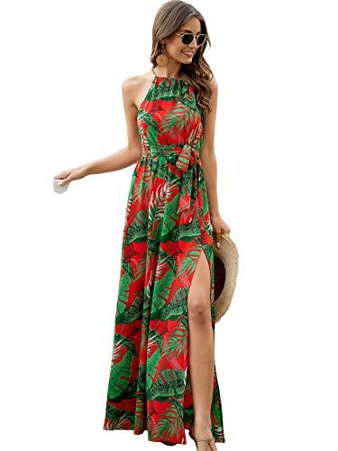 SOLY HUX Women's Tropical Leaf Print Halter Split Hem Belted Maxi Dress Red Leaf M