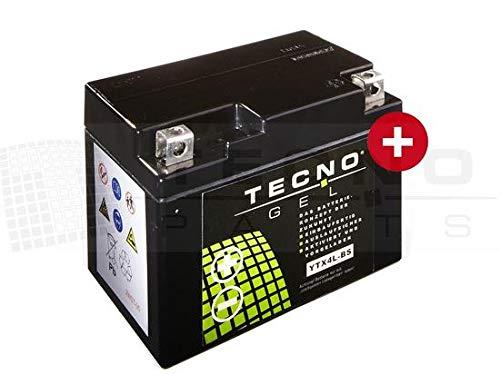 TECNO-GEL Motorrad-Batterie YTX4L-BS, 12V Gel-Batterie 4Ah (DIN 50314), 114x69x87 mm inkl. Pfand