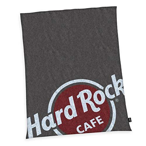 Herding HARD ROCK Flauschdecke, Original Hard Rock Café Lizenz, 150 x 200 cm, Microfaser, Grau