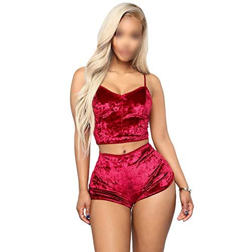Pijamas Mujer Lencería 2 Piezas,Sexy Conjunto de Ropa de Dormir,Conjunto de Pijama de Terciopelo Crop Top Camisola+Shorts,Corto de Tirantes sin Mangas y Pantalones Cortos H XS