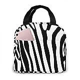 ChaojudingH Zebra Stripes Seamless Pattern. Borsa per il pranzo portatile isolata Borsa termica per il pranzo Borsa da viaggio per la scuola di lavoro con tasca frontale